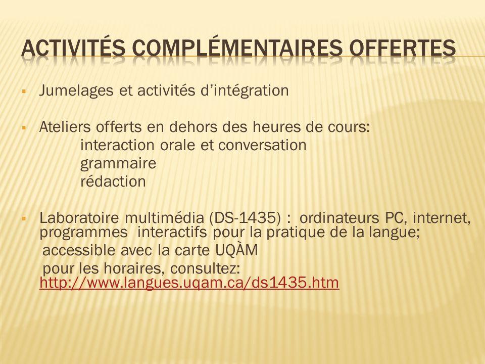 Activités complémentaires offertes