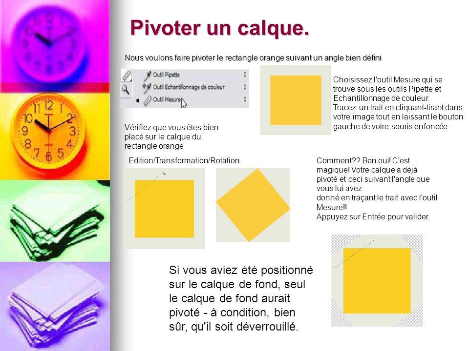 Pivoter un calque. Nous voulons faire pivoter le rectangle orange suivant un angle bien défini.