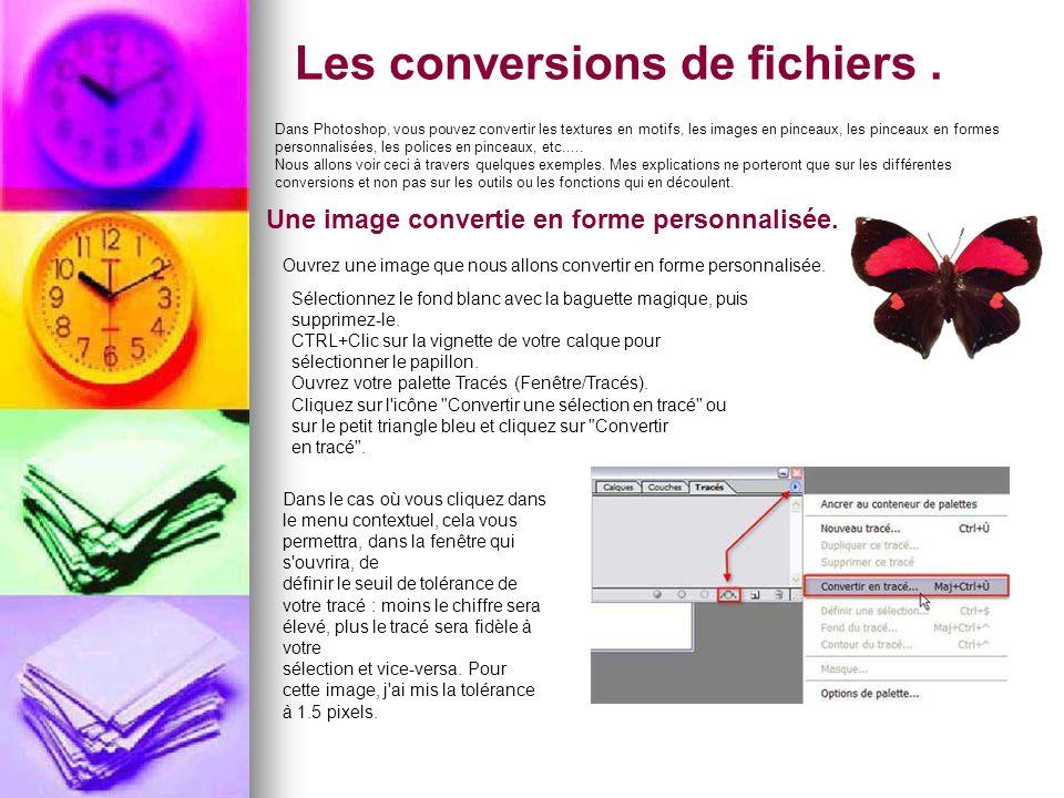 Les conversions de fichiers .