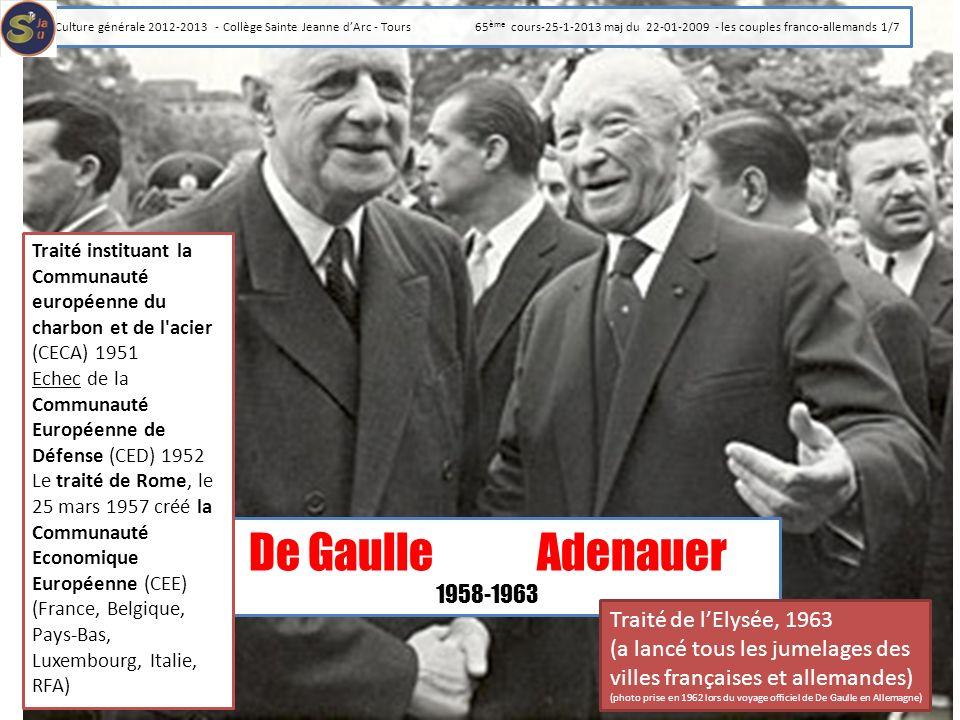 De Gaulle Adenauer 1958-1963 Traité de l'Elysée, 1963