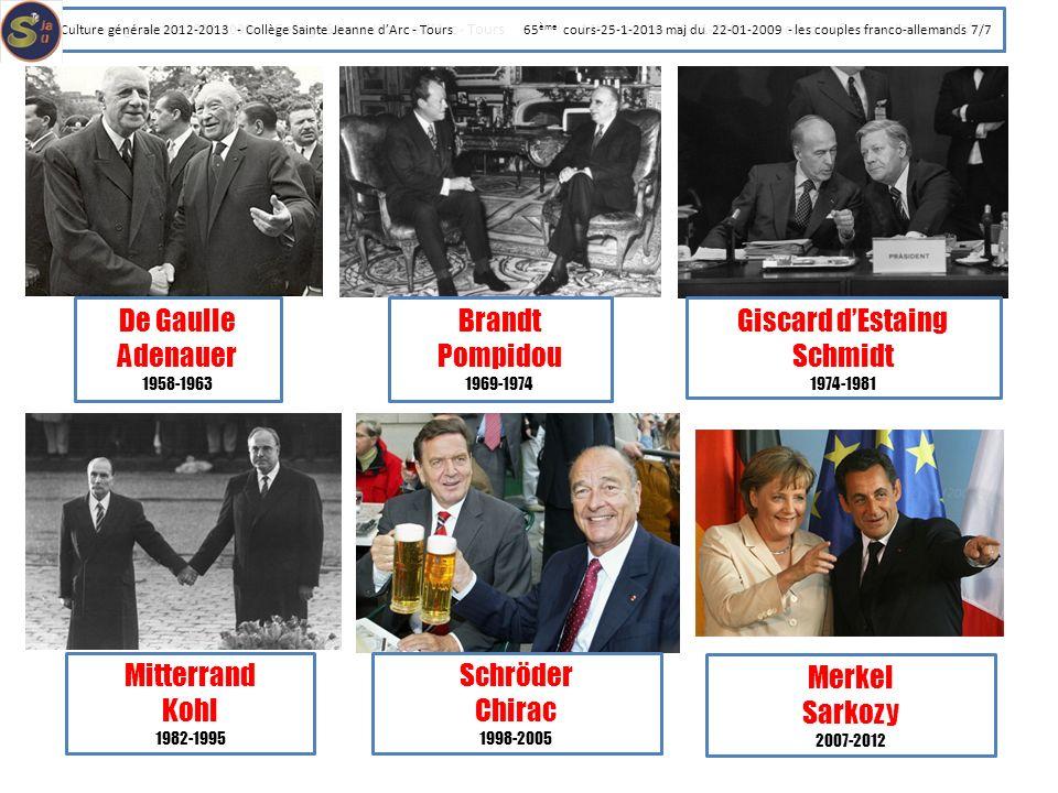 De Gaulle Adenauer Brandt Pompidou Giscard d'Estaing Schmidt