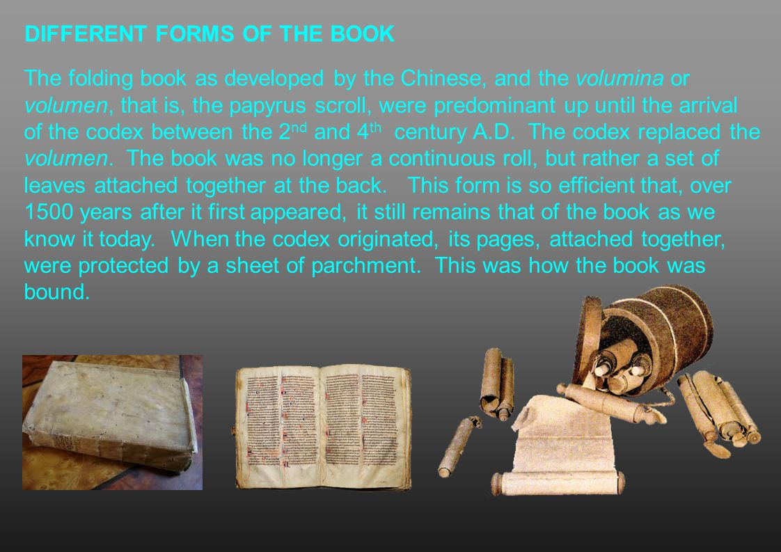 DIFFERENT FORMS OF THE BOOK