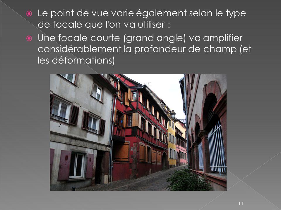 Le point de vue varie également selon le type de focale que l on va utiliser :