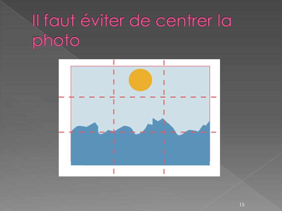 Il faut éviter de centrer la photo