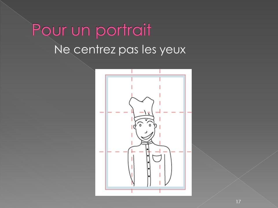 Pour un portrait Ne centrez pas les yeux