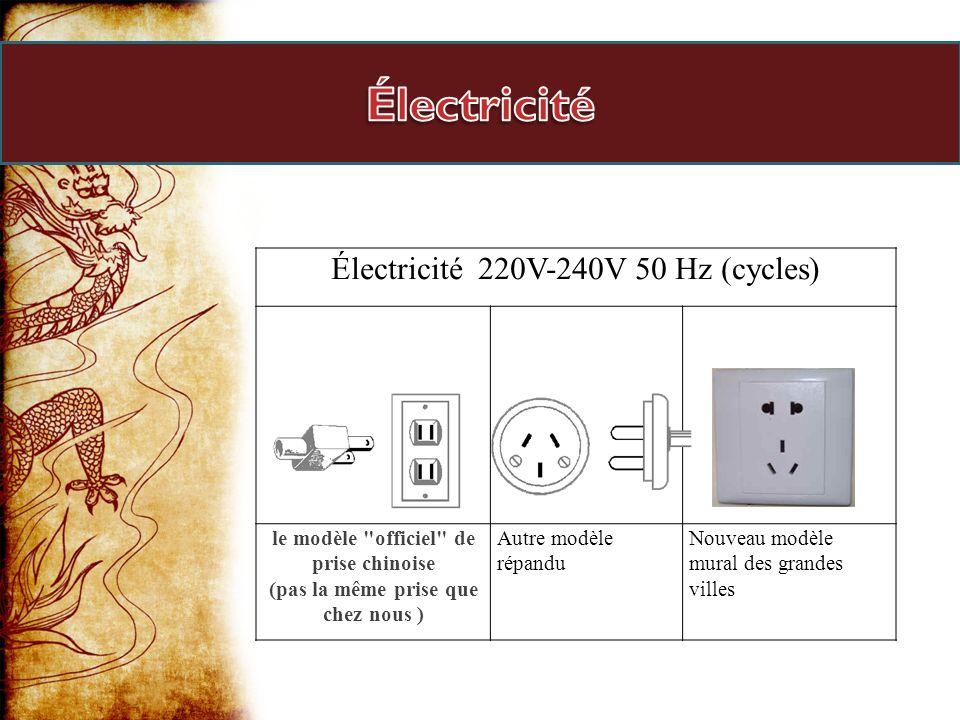 Électricité Électricité 220V-240V 50 Hz (cycles)