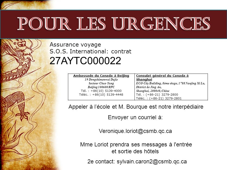Pour les urgences Assurance voyage