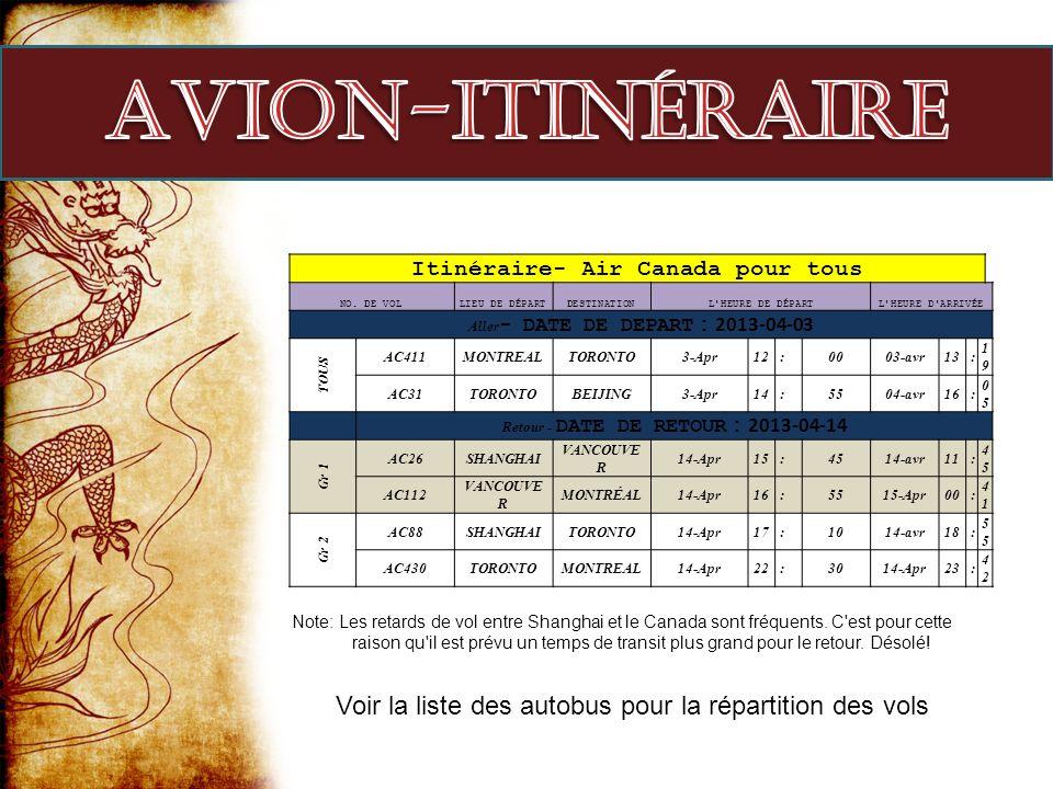 Avion-itinéraire Itinéraire- Air Canada pour tous. NO. DE VOL. LIEU DE DÉPART. DESTINATION. L HEURE DE DÉPART.