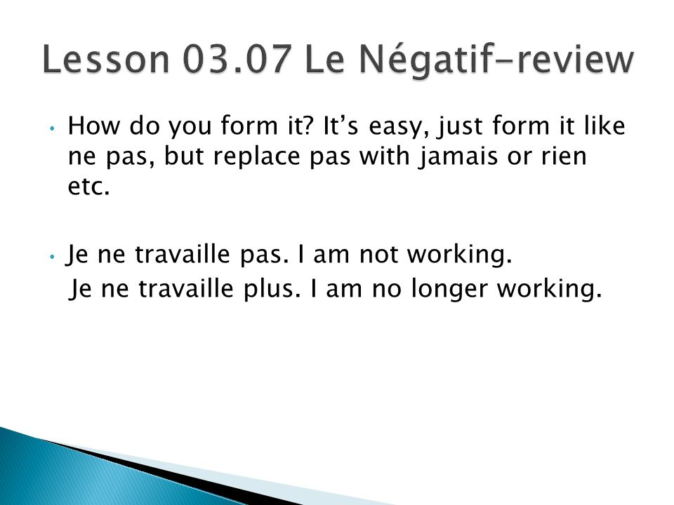 Lesson Le Négatif-review