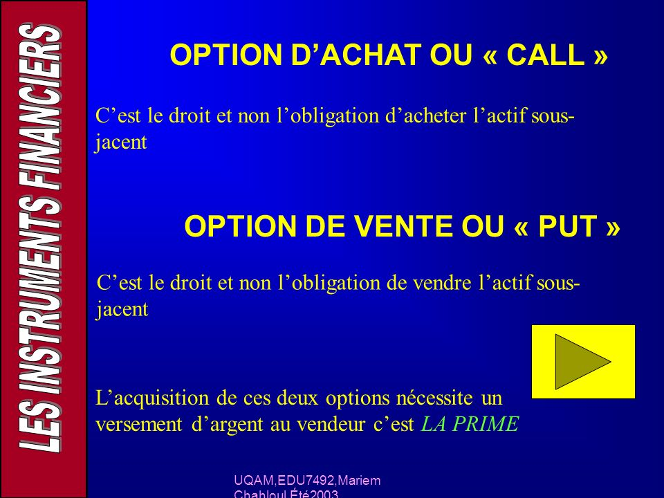 OPTION D'ACHAT OU « CALL »