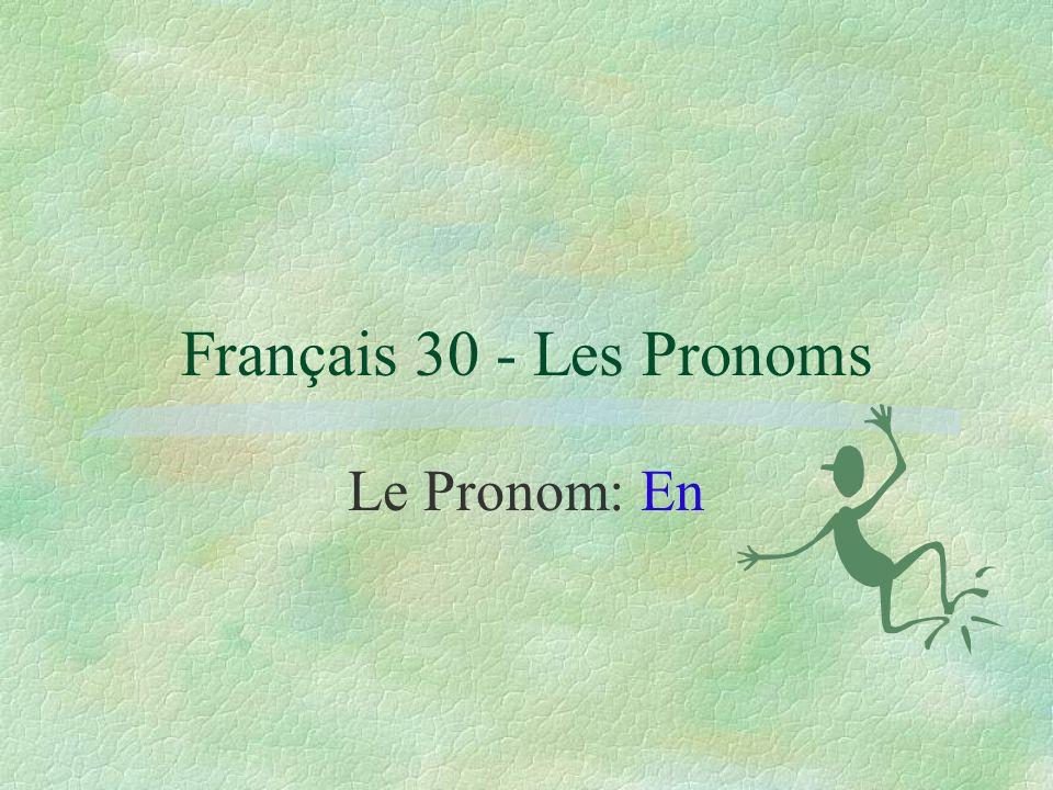 Français 30 - Les Pronoms Le Pronom: En