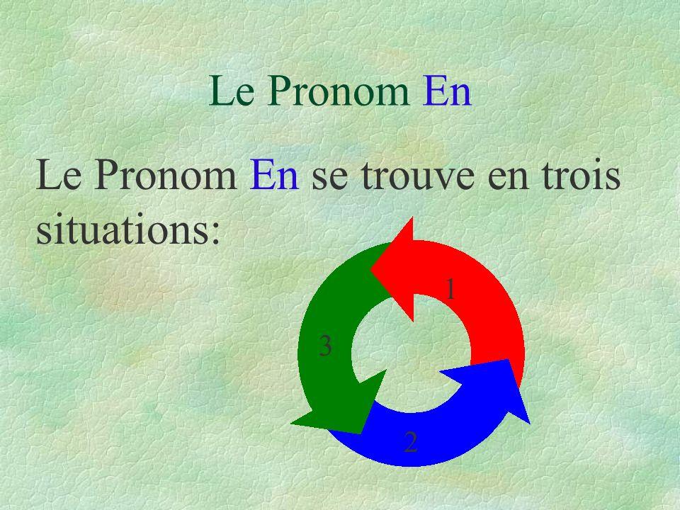 Le Pronom En se trouve en trois situations: