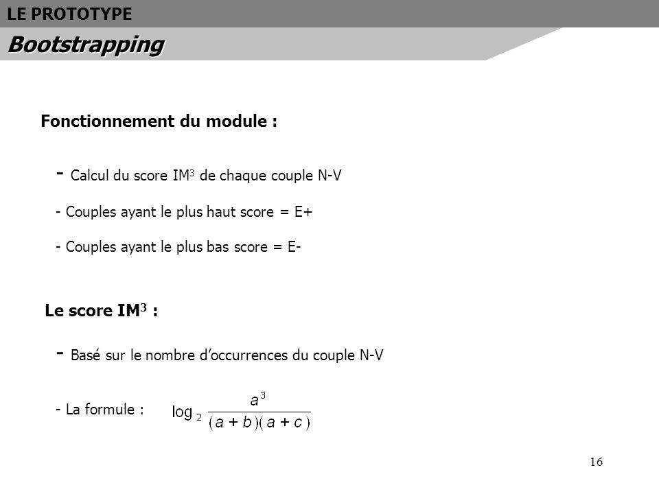 Calcul du score IM3 de chaque couple N-V