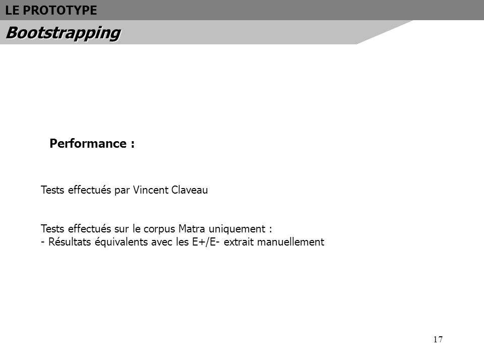 Bootstrapping LE PROTOTYPE Performance :