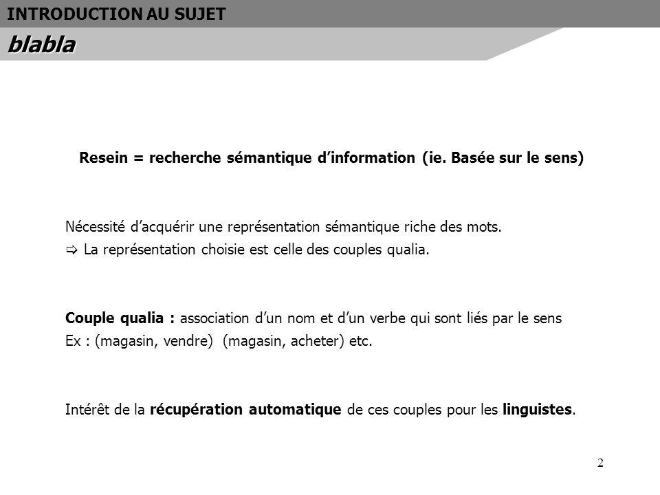 Resein = recherche sémantique d'information (ie. Basée sur le sens)