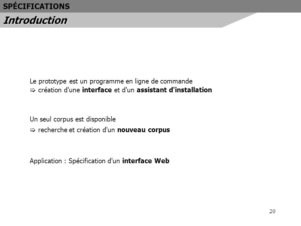 Introduction SPÉCIFICATIONS