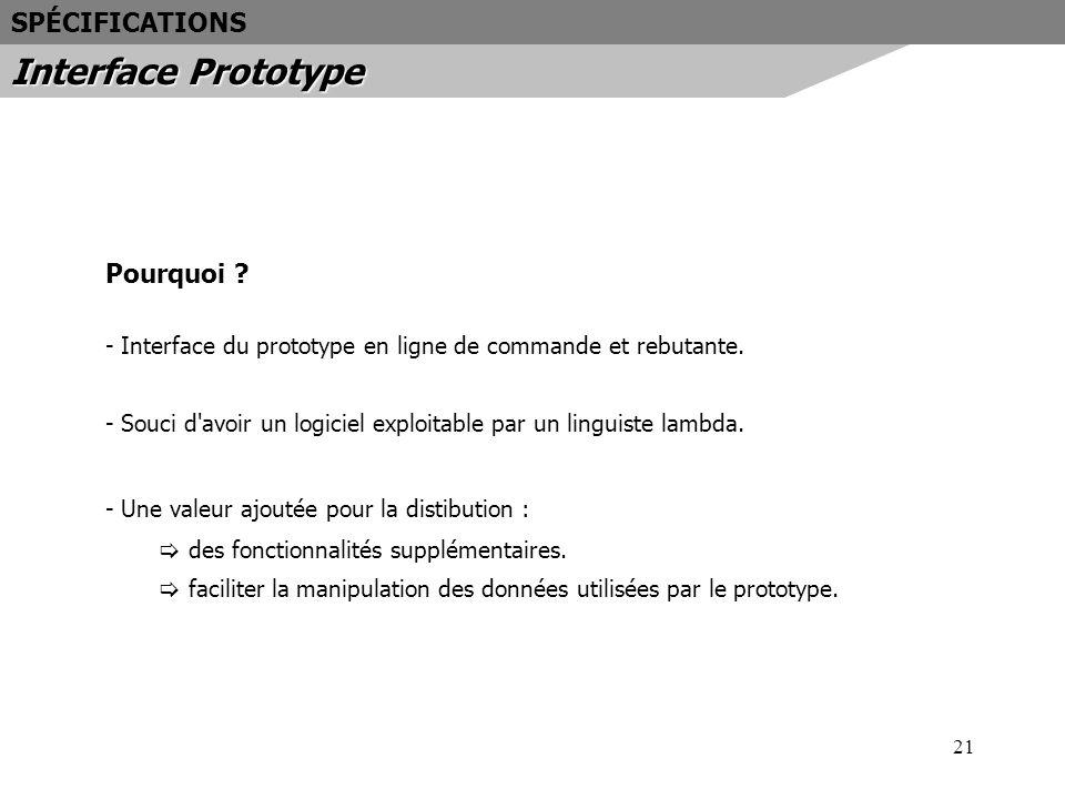 Interface Prototype SPÉCIFICATIONS Pourquoi