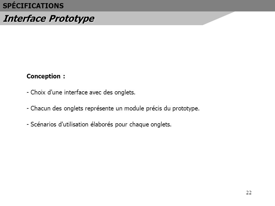Interface Prototype SPÉCIFICATIONS Conception :