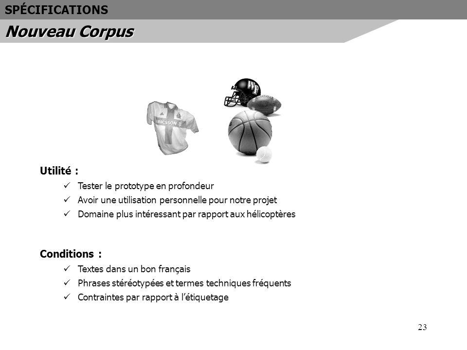 Nouveau Corpus SPÉCIFICATIONS Utilité : Conditions :