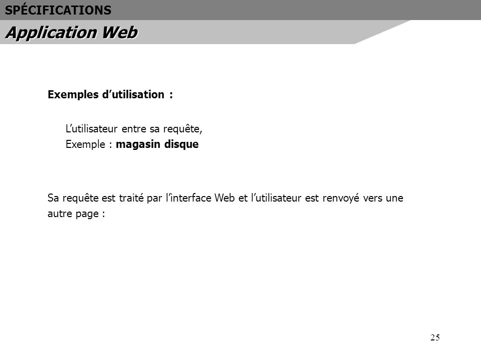 Application Web SPÉCIFICATIONS Exemples d'utilisation :