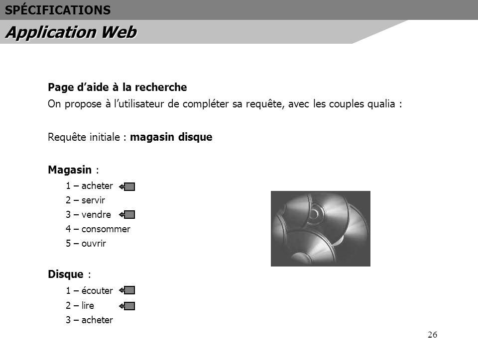 Application Web SPÉCIFICATIONS Page d'aide à la recherche