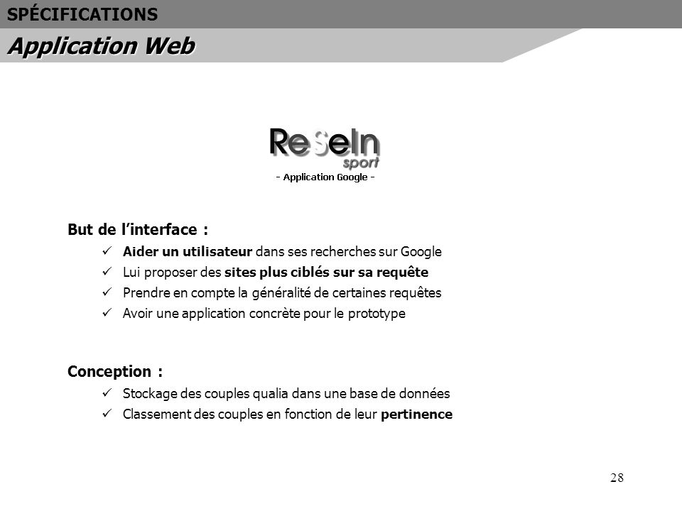 Application Web SPÉCIFICATIONS But de l'interface : Conception :
