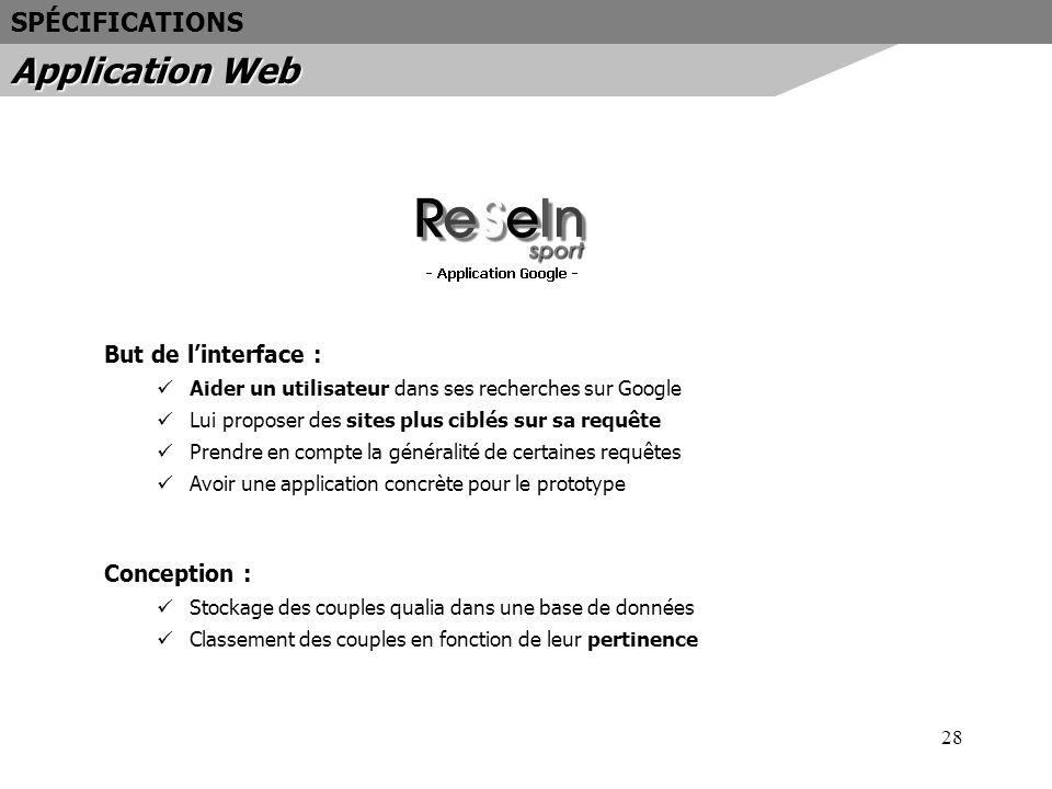 Application Web SPÉCIFICATIONS But de l'interface : Conception :