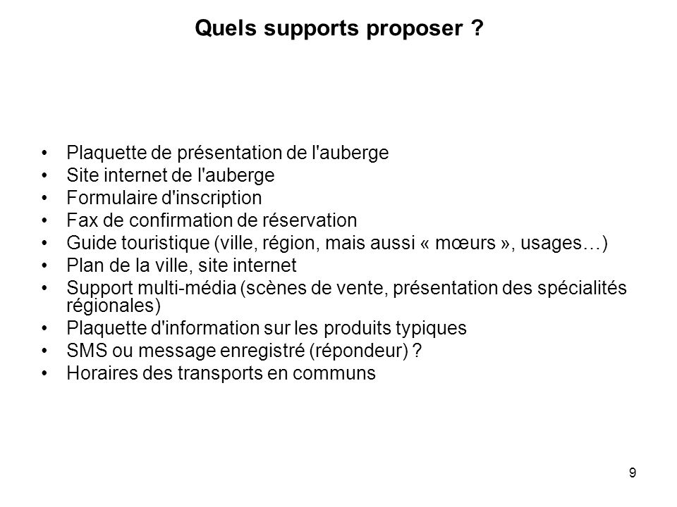 Quels supports proposer