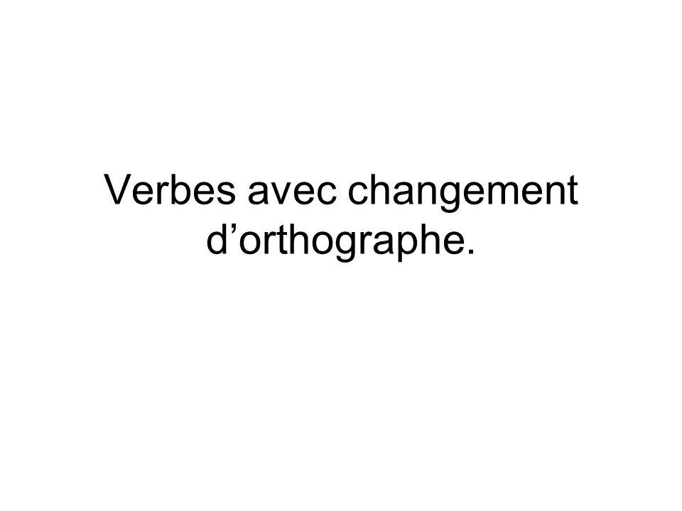 Verbes avec changement d'orthographe.