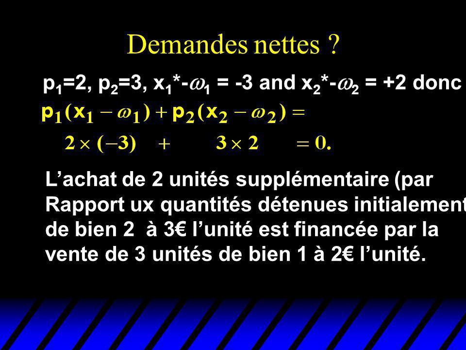 Demandes nettes p1=2, p2=3, x1*-w1 = -3 and x2*-w2 = +2 donc