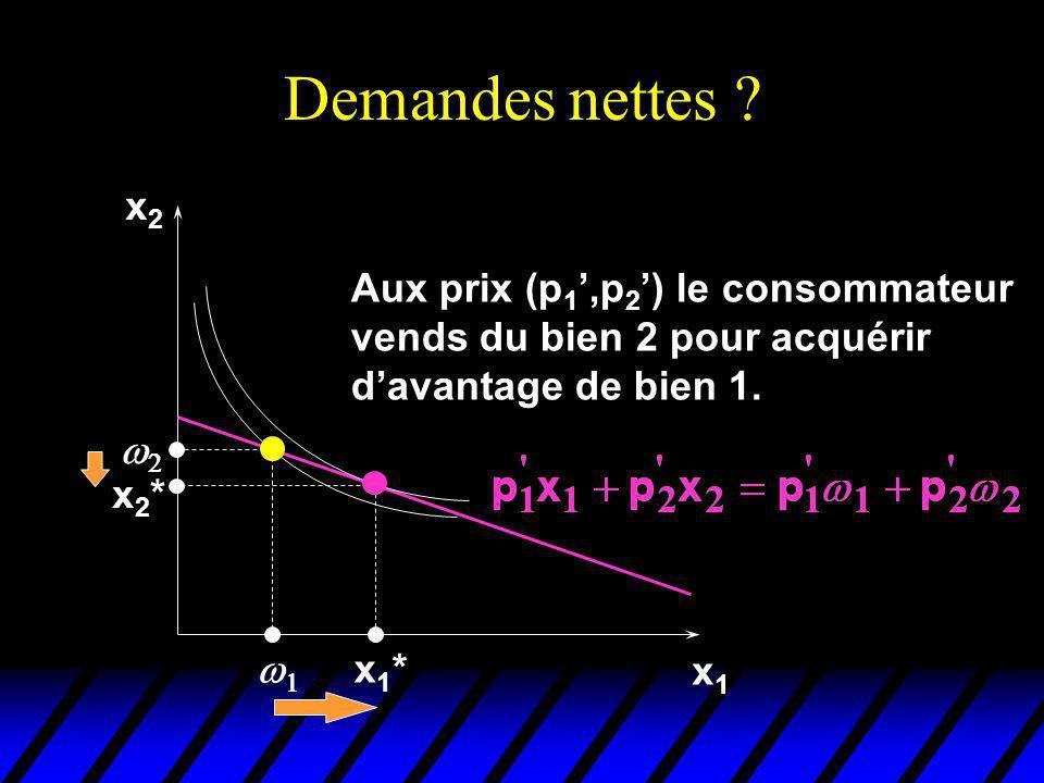 Demandes nettes x2. Aux prix (p1',p2') le consommateur vends du bien 2 pour acquérir d'avantage de bien 1.
