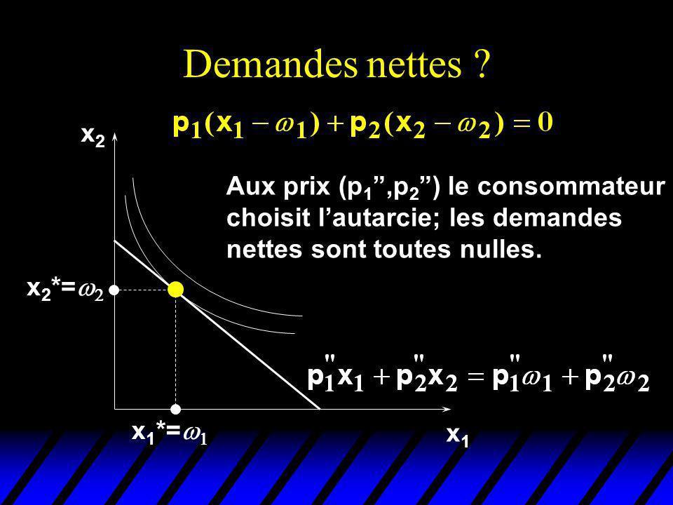 Demandes nettes x2. Aux prix (p1 ,p2 ) le consommateur choisit l'autarcie; les demandes nettes sont toutes nulles.