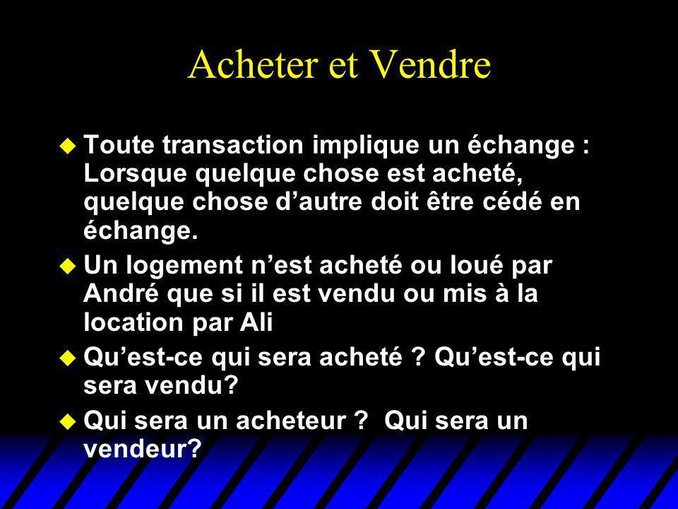 Acheter et Vendre Toute transaction implique un échange : Lorsque quelque chose est acheté, quelque chose d'autre doit être cédé en échange.