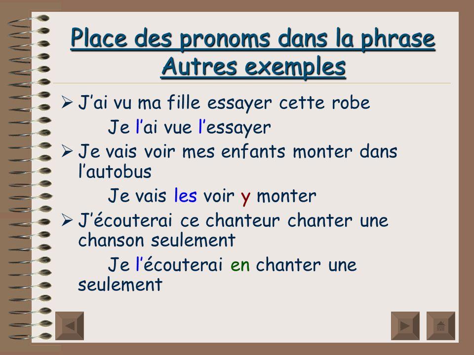 Place des pronoms dans la phrase Autres exemples