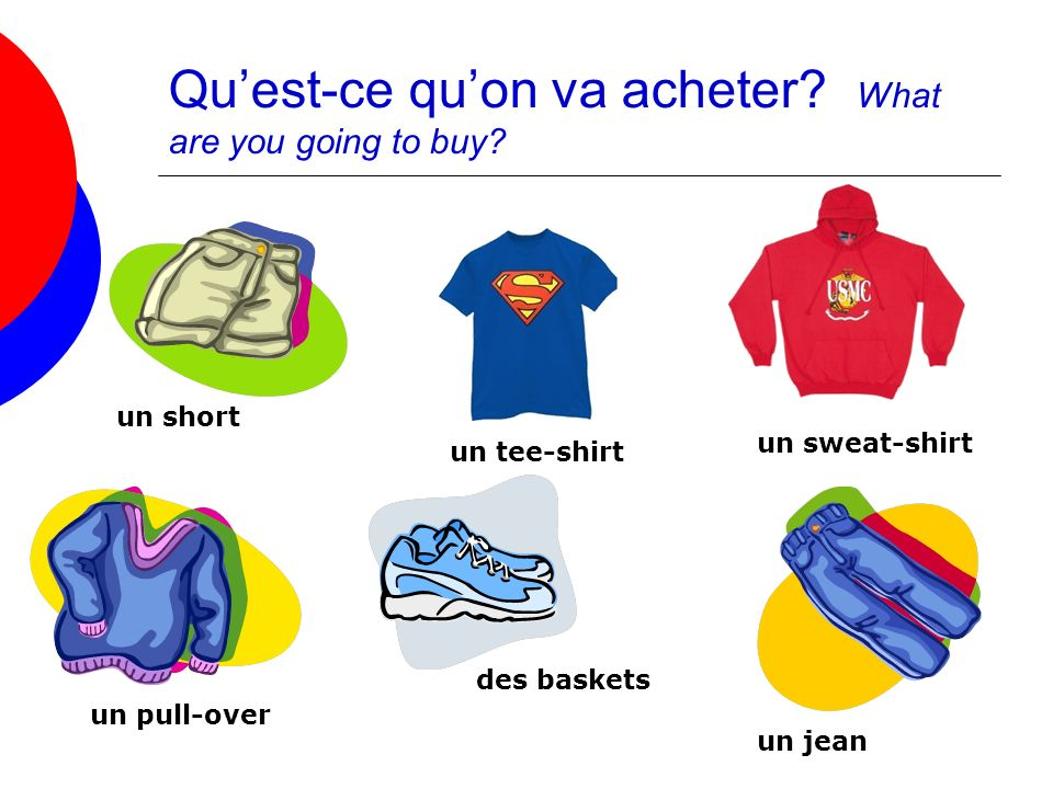 Qu'est-ce qu'on va acheter What are you going to buy