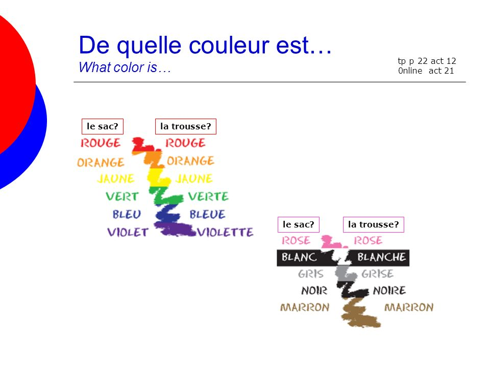 De quelle couleur est… What color is…