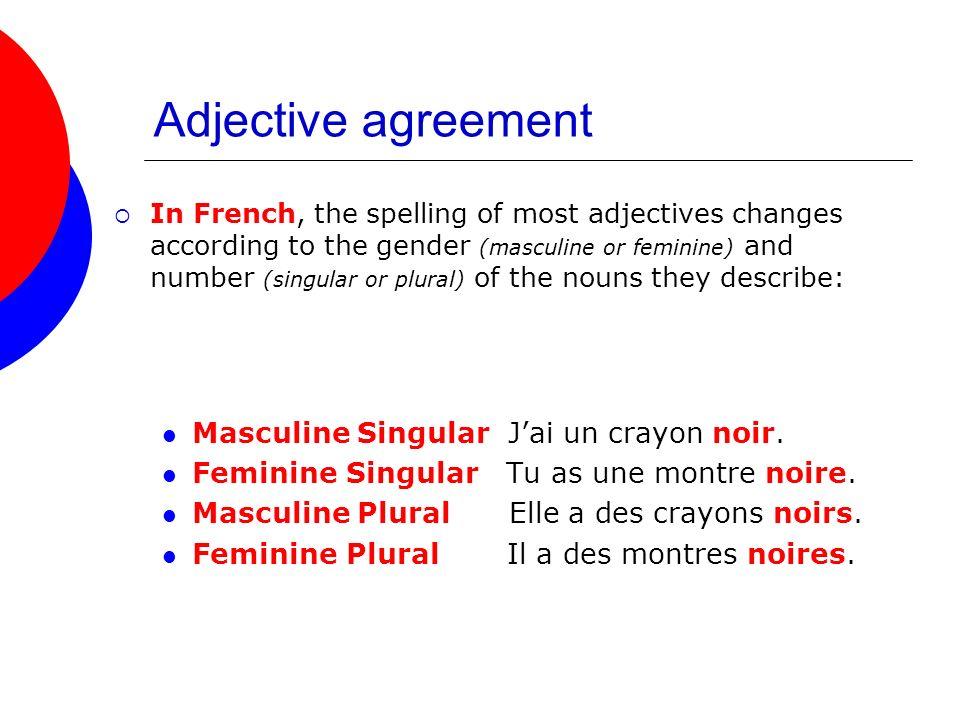 Adjective agreement Masculine Singular J'ai un crayon noir.