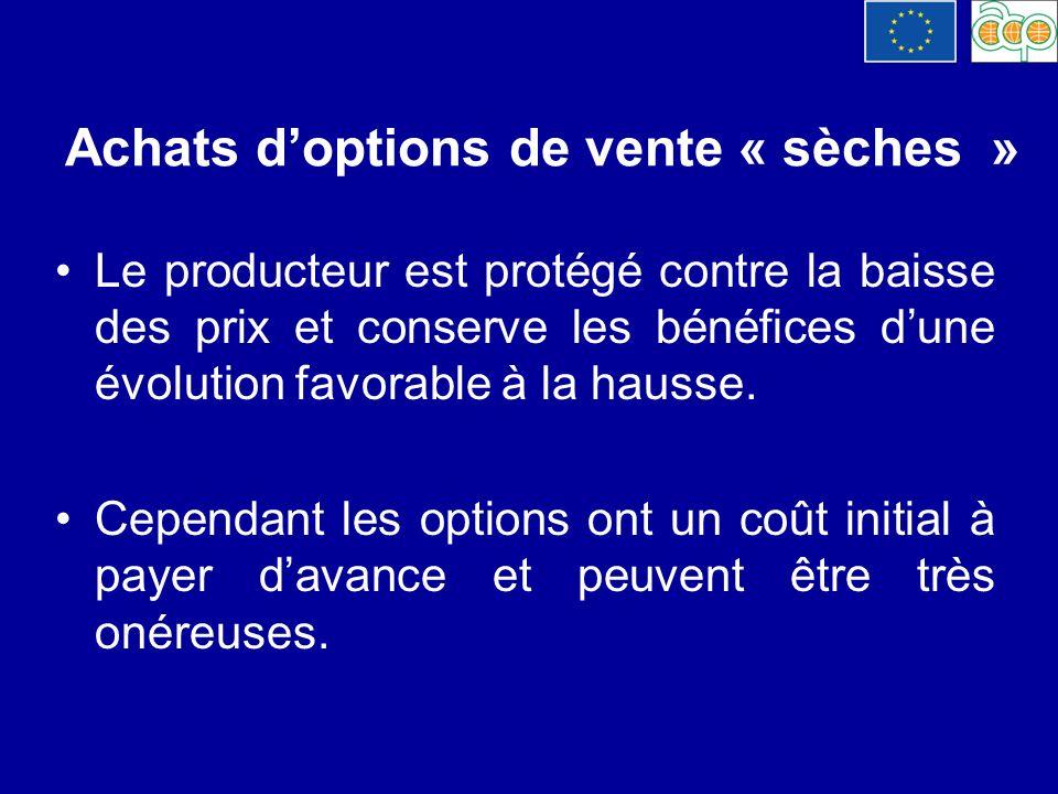 Achats d'options de vente « sèches »