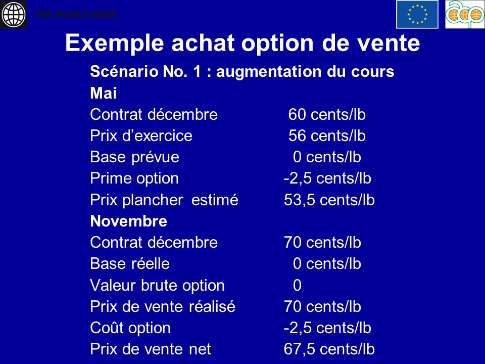 Exemple achat option de vente