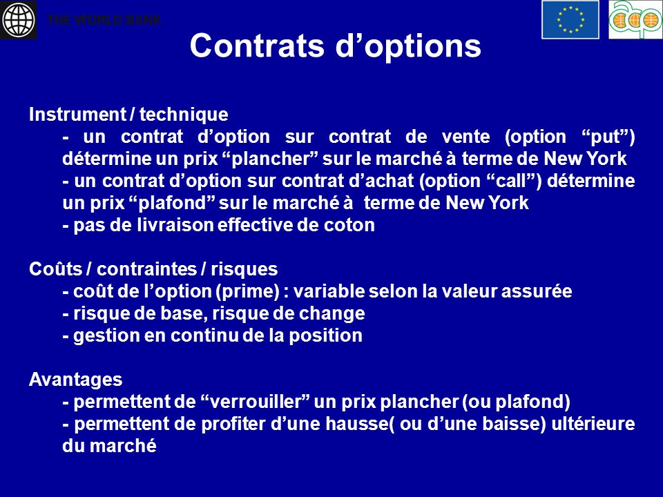 Contrats d'options Instrument / technique