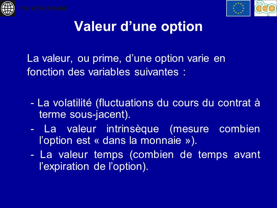 Valeur d'une option La valeur, ou prime, d'une option varie en fonction des variables suivantes :