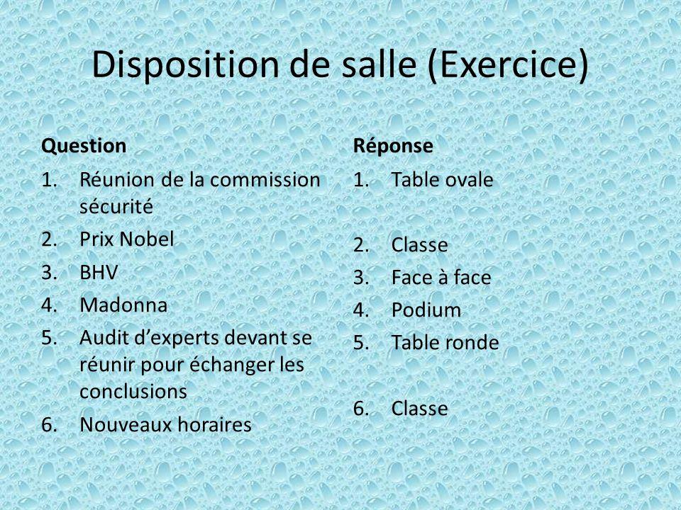 Disposition de salle (Exercice)