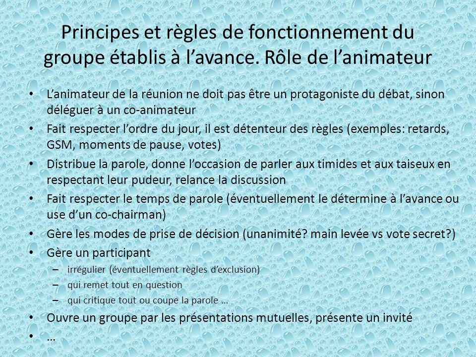 Principes et règles de fonctionnement du groupe établis à l'avance
