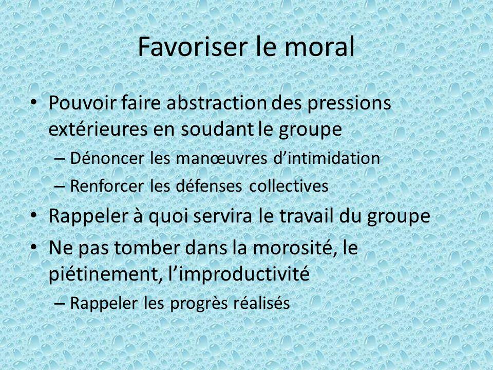 Favoriser le moral Pouvoir faire abstraction des pressions extérieures en soudant le groupe. Dénoncer les manœuvres d'intimidation.