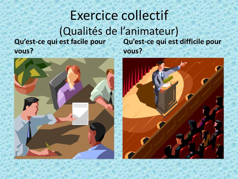Exercice collectif (Qualités de l'animateur)