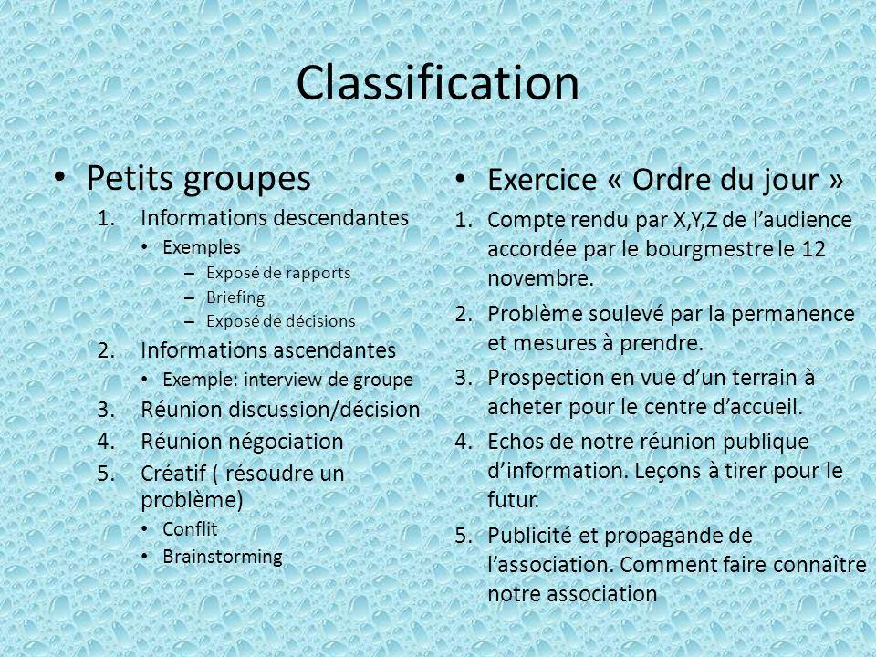 Classification Petits groupes Exercice « Ordre du jour »