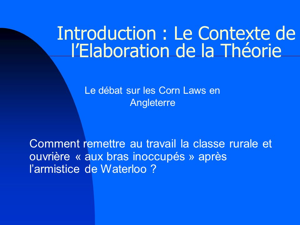 Introduction : Le Contexte de l'Elaboration de la Théorie