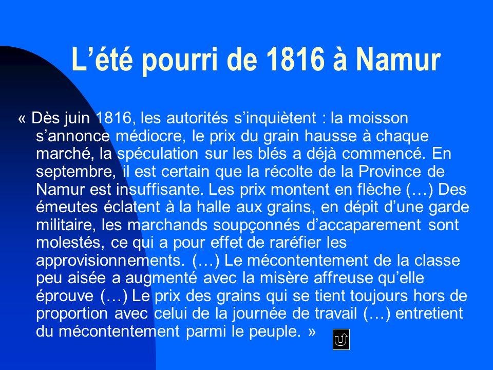 L'été pourri de 1816 à Namur