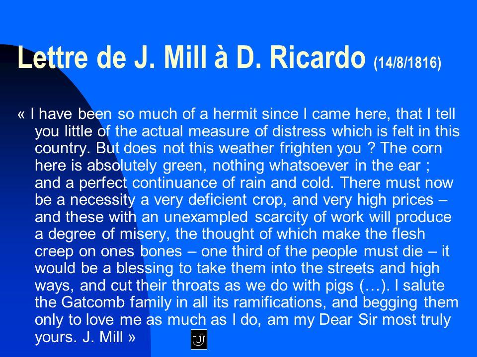 Lettre de J. Mill à D. Ricardo (14/8/1816)