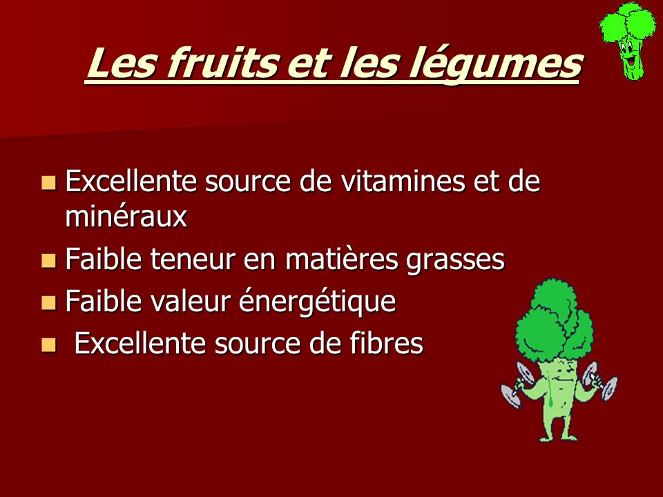 Les fruits et les légumes